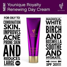 Royalty Renewing Day Cream: Renew the elegance of your skin with a silky-smooth moisturizer created for combination or normal-to-oily skin. SPF 20 shields your skin from the sun while plant extracts, vitamins, and antioxidants nourish and moisturize.