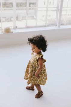 Ada dress in golden floral Little Girl Fashion, Toddler Fashion, Toddler Outfits, Boy Outfits, Kids Fashion, Little Babies, Cute Babies, Baby Kids, Afro