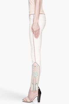 MOTHER Cream tapestry embroidered The Looker Ankle Zip jeans