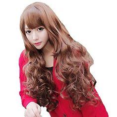 Fashion Woman Capless Long Wavy Honey Brown Synthetic Stylish Side Bang Wigs