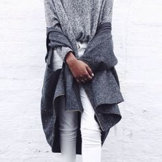 ROCKERS | TheyAllHateUs. Grey sweater(s) w/ white jeans