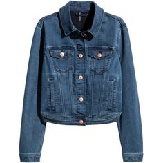 Superstretch Denim Jacket $34.99 (2.015 RUB) ❤ liked on Polyvore featuring outerwear, jackets, h&m, blue jean jacket, collar jacket, blue denim jacket, blue short jacket and jean jacket