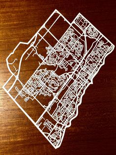 Paper cut map of Oakville ON streets 11x17 by CUTdesignsrt