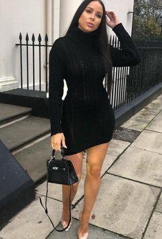 7751d1cbc812 Black Knit, Ribbed Fabric, Dress To Impress, Beautiful Dresses, Turtle Neck,