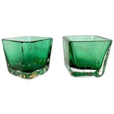 Emerald Green Votives by Erickson - A Pair (75 CAD) ❤ liked on Polyvore featuring home, home decor, candles & candleholders, candle holders, glass candle holders, glass votive candles, glass candle stick holders, glass votives and glass votive candle holders