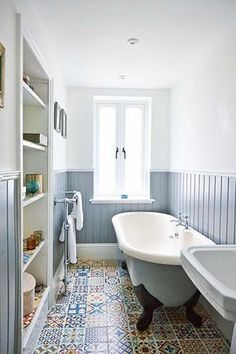 Apartment renovation bathroom blue wall cladding and moroccan tiles / Bathroom inspiration(Diy Apartment Bathroom) House Bathroom, Windowless Bathroom, Trendy Bathroom, Apartment Renovation, Small Bathroom, Bathroom Renovations, Bathroom Flooring, Bathroom Decor, Bathroom Inspiration