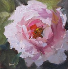 "Pretty in Pink by Linda Hunt Oil ~ 6"" x 6"""