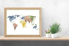 World Map Cross Stitch Pattern PDF/ geometric globe counted