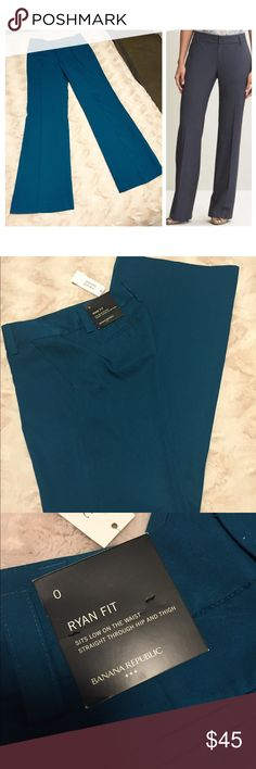 Banana Republic Ryan Fit Teal Trousers These are gorgeous slacks! I love the real color and the fit is great! These are Banana Republic Trousers in thenRyan fit, they look great on with flats and heels! These are a size 0 and are unfortunately too small for me. They are brand new with tags still attached! Retail for $80. Inseam is 31.5 inches (sorry about my dirty mirror) Banana Republic Pants Trousers