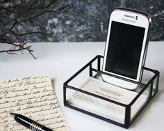 Stained glass mobile phone and businiss card holder stand