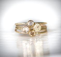 Rose Cut Diamond Ring, Signet Ring, White Diamond Ring, Cognac Diamond Ring - Set of four stacking rings