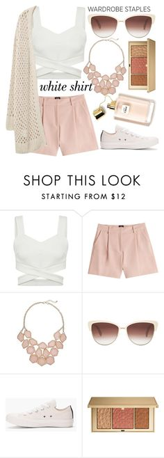 """Feeling Peachy"" by ggkitty ❤ liked on Polyvore featuring McQ by Alexander McQueen, Oliver Peoples, Converse, Estée Lauder and Violeta by Mango"