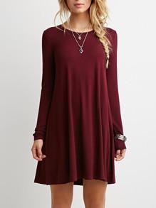 casual red dress, shift dress, long sleeve burgundy dress - Crystalline