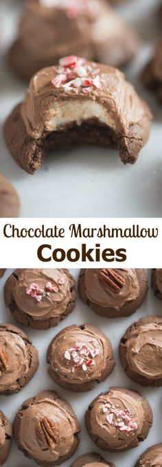 Chocolate Marshmallow Cookies are one of my favorite holiday cookies! Start with a delicious chewy chocolate cookie, topped with a warm marshmallow and smooth chocolate frosting. | Tastes Better From Scratch