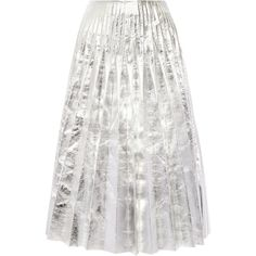 Gucci Pleated metallic leather midi skirt (158.625 RUB) ❤ liked on Polyvore featuring skirts, gucci, pleated midi skirt, midi skirt, white leather skirt, knee length a line skirt and white pleated skirt