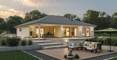 Bungalow BGL 114 Bungalow with a covered terrace - Home & DIY Bungalow Haus Design, Modern Bungalow House, Bungalow Exterior, Modern Farmhouse Exterior, Village House Design, Village Houses, Bungalows, Interior Paint Colors For Living Room, Concept Home