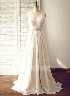 [R$ 570.54] Vestidos princesa/ Formato A Decote V Cauda de sereia Tecido de seda Vestido de noiva (002104627)