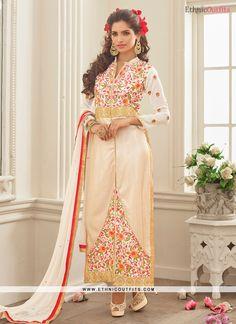 Strange Resham Work Cream Georgette Designer Straight Salwar Suit  Email - support@ethnicoutfits.com Call - +918140714515 What's app/Viber - +918141377746