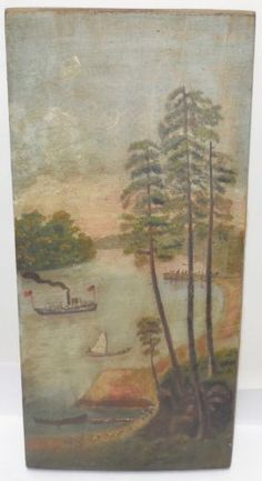 Early-Oil-Painting-on-Board-Folk-Art-Steam-Ship-American-Flags-Lake-NY-Estate
