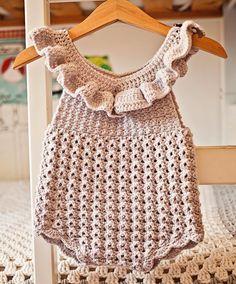 Ravelry: Ruffle Romper pattern by Mon Petit Violon Crochet Romper, Baby Girl Crochet, Crochet Baby Clothes, Ruffle Romper, Crochet For Kids, Crochet Yarn, Crochet Hooks, Crochet Outfits For Babies, Crochet Baby Bloomers