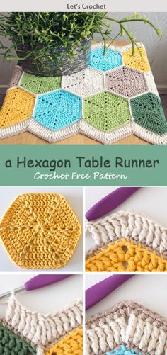 This A Hexagon Table Runner Crochet Free Pattern is a colorful and decorative table runner that is perfect for any table. Make one now with the free pattern provided by the link below the photo. Chat Crochet, Crochet Amigurumi, Crochet Home, Crochet Gifts, Diy Crochet, Crochet Ideas, Crochet Table Runner Pattern, Crochet Cat Pattern, Crochet Motifs