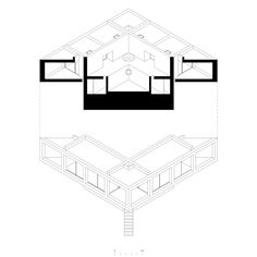 Image 3 of 17 from gallery of Solo House Casa Pezo / Pezo Von Ellrichshausen Architects. Courtesy of Pezo Von Ellrichshausen Architects Architecture Concept Diagram, Architecture Drawings, Installation Architecture, Architecture Collage, Building Architecture, Modern Architecture, Oblique Drawing, Pezo Von Ellrichshausen, Section Drawing