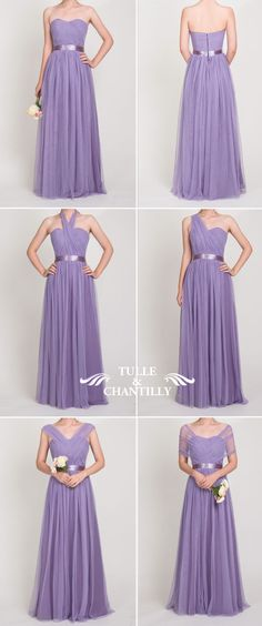 long convertible tulle purple bridesmaid dresses 2016