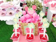 Treats at a Minnie Mouse garden birthday party! See more party planning ideas at CatchMyParty.com!