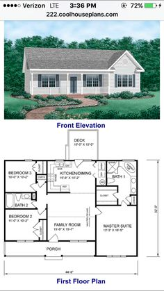 Ranch HomePlan 45476 Has 1258 Square Feet Of Living Space, 3 Bedrooms And 2  Bathrooms. Central U0026 Open To The Floor Plan, The Kitchen And Family Room ...