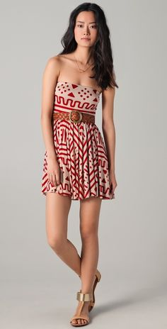 Rachel Pall Marley mini dress.  Love the sandals and belt, too.  Great look!