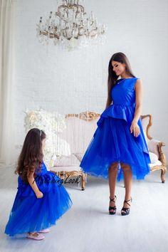 Royal Blue Mommy and Me Dresses - Matching Dresses - Christmas Dresses -  Mommy and Me Outfit - Blue Flower Girl Dress - Tutu Dress eca4b5b61851