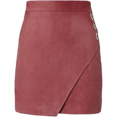 Rose Suede Wrap Front Mini Skirt (£450) ❤ liked on Polyvore featuring skirts, mini skirts, bottoms, faldas, jupe, metallic, metallic skirts, suede skirt, short skirts and suede wrap skirt