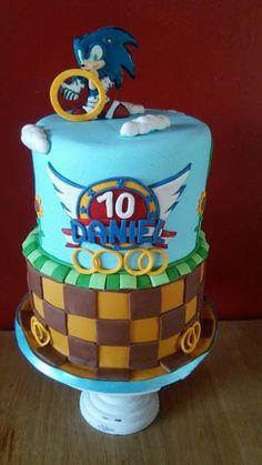 Sonic cake - Cake by Despoina Karasavvidou-Osuala Sonic Birthday Cake, Sonic Birthday Parties, Sonic Party, Bolo Sonic, Sonic Cake, Cupcakes, Cupcake Cakes, Sonic The Hedgehog Cake, Video Game Cakes