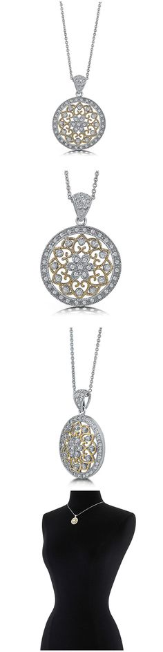 Berricle 2-Tone Sterling Silver CZ Art Deco Fashion Necklace