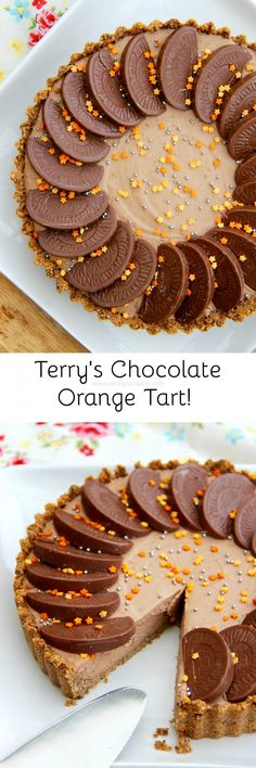 A DELICIOUS No-Bake Terry's Chocolate Orange Tart - a No-Bake Crust, and a No-Bake filling. heaven in chocolate orange form! Tart Recipes, Baking Recipes, Sweet Recipes, Baking Ideas, Cheesecake Recipes, Easy Desserts, Delicious Desserts, Dessert Recipes, Yummy Food