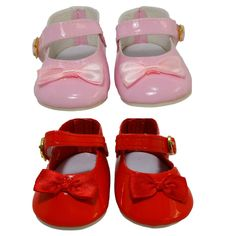 These pretty Mary Jane shoes feature a ribbon bow on the front and fasten around the ankle with a Velcro tab so easy for little hands to dress their doll. Available in Red or Pink and can be worn with or without socks. Girl Doll Clothes, Girl Dolls, Baby Dolls, Sock Shoes, Baby Shoes, Our Generation Doll Clothes, American Girl Wellie Wishers, Wellie Wishers Dolls, Girls Socks