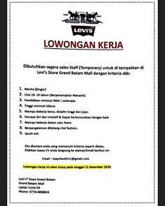 Lowongan Kerja Levi's Store Grand Batam Mall (7/12/2020) Levis Store, Batam, Levis Shop