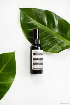 Spring Beauty, Aesop Body Lotion / Garance Doré Product Photography & Styling. Product Bottle & Leaves.
