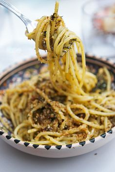 Pesto di Pantelleria: mixture of tomatoes, herbs, and garlic topped with toasted breadcrumbs