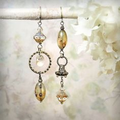 Asymmetrical mismatch earrings in champagne Czech Picasso glass and antiqued brass *¨¨*¨¨*¨¨*¨¨*¨¨*¨¨*¨¨*¨¨*¨¨*¨¨*¨¨*¨¨*¨¨*¨¨*¨¨*¨¨*¨¨*¨¨*¨¨*¨¨*¨¨*¨¨*¨¨*¨¨*¨¨*¨¨* To find any currently active discount COUPON CODES, make sure to read the Shop Announcement, located beneath the banner on