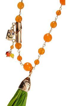 Rosantica - Aloha Gold-plated, Raffia And Quartz Necklace - Orange - one size