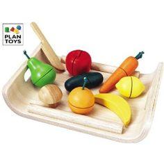 Plantoys 1353416 - Obst und Gemüse schneiden mit Servierbrett