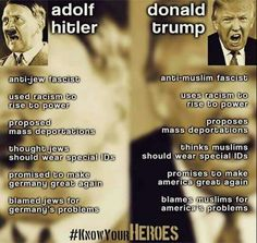 This meme is linked to a short essay that says we should stop comparing Trump to Hitler. The author says that Trump is simply a blowhard while Hitler was an instigator of war and annihilation. HOWEVER: the author fails to note that Hitler started as a blowhard, with a small cadre of followers. Trump is following in his shoes. The lessons of history are being forgotten. We are headed in a very dangerous direction. May God save America!!