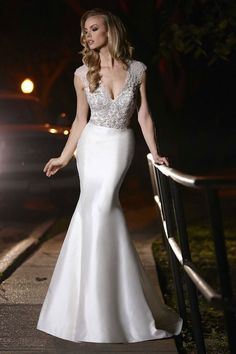 Jeweled Sleevless Simone Carvalli Wedding Gowns