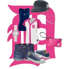 feeling pink at the ballgame-Go Tigers!, created by lori-hannon-fouchey
