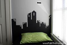 Super heroes bedroom art on pinterest wall murals for Batman cityscape wall mural
