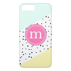 Mint, Pink & Yellow Summer Personalized Monogram iPhone 7 Plus Case