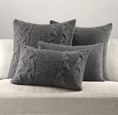 Italian Wool & Alpaca Knit Pillow Cover Collection - Charcoal