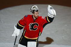 Calgary Flames goalie Miikka Kiprusoff celebrates being named the first star of the game after they defeated the Anaheim Ducks during their NHL game in Calgary I cry every time I think of it