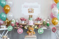 Dessert Table from a Teddy Bear Forever Friends Birthday Party via Kara's Party Ideas KarasPartyIdeas.com (4)